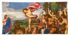Bacchus And Ariadne Beach Towel by Titian