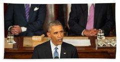 Barack Obama 2015 Sotu Address Beach Towel by Science Source