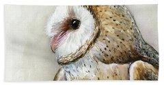 Barn Owl Watercolor Beach Sheet by Olga Shvartsur