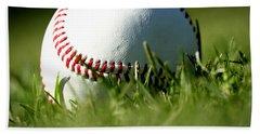 Baseball In Grass Beach Sheet by Chris Brannen