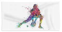 Baseball Softball Catcher Sports Art Print Beach Towel by Svetla Tancheva