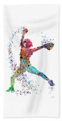 Baseball Softball Pitcher Watercolor Print Beach Towel by Svetla Tancheva