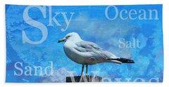 Beach Art Seagull By Sharon Cummings Beach Sheet by Sharon Cummings