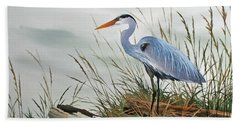 Beautiful Heron Shore Beach Sheet by James Williamson
