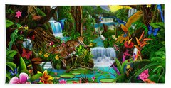 Beautiful Rainforest Beach Towel by Gerald Newton