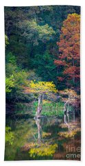 Beavers Bend Trees Beach Towel by Inge Johnsson