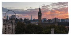 Big Ben London Sunrise Beach Sheet by Mike Reid