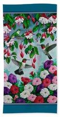 Bird Painting - Hummingbird Heaven Beach Towel by Crista Forest