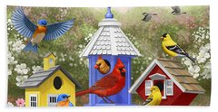 Bird Painting - Primary Colors Beach Sheet by Crista Forest