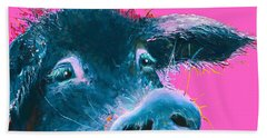 Black Pig Painting On Pink Background Beach Sheet by Jan Matson