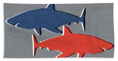 Blue And Red Sharks Beach Towel by Linda Woods