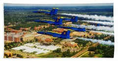 Blue Angels Over Michigan State University Beach Sheet by Mountain Dreams
