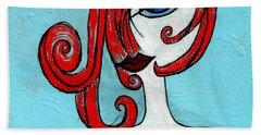 Blue Eyed Redhead In Green Dress Beach Sheet by Genevieve Esson