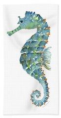 Blue Seahorse Beach Sheet by Amy Kirkpatrick