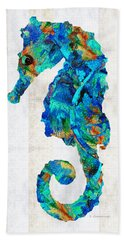 Blue Seahorse Art By Sharon Cummings Beach Towel by Sharon Cummings