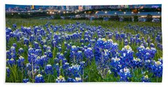 Bluebonnets In Dallas Beach Towel by Inge Johnsson