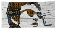 Bob Dylan Minnesota Native Recycled Vintage License Plate Portrait On White Wood Beach Towel by Design Turnpike