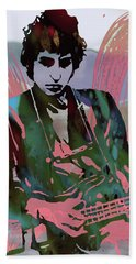 Bob Dylan Modern Etching Art Poster Beach Towel by Kim Wang