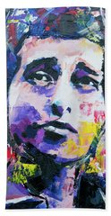 Bob Dylan Portrait Beach Sheet by Richard Day