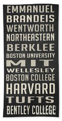 Boston Colleges Poster Beach Towel by Edward Fielding