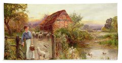 Bringing Home The Sheep Beach Towel by Ernest Walbourn