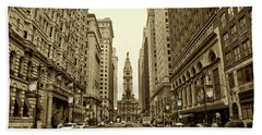 Broad Street Facing Philadelphia City Hall In Sepia Beach Sheet by Bill Cannon