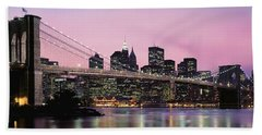 Brooklyn Bridge Across The East River Beach Sheet by Panoramic Images