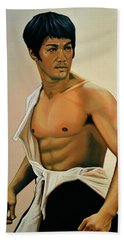 Bruce Lee Painting Beach Towel by Paul Meijering