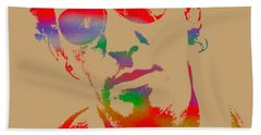 Bruce Springsteen Watercolor Portrait On Worn Distressed Canvas Beach Sheet by Design Turnpike
