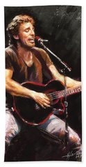 Bruce Springsteen  Beach Towel by Ylli Haruni