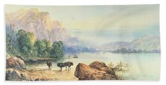 Buffalo Watering Beach Towel by Thomas Moran