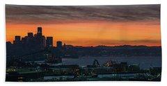 Burning Seattle Skyline Sunrise Panorama Beach Towel by Mike Reid