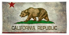 California Republic State Flag Retro Style Beach Towel by Bruce Stanfield