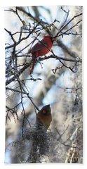 Cardinals In Mossy Tree Beach Sheet by Carol Groenen