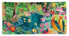 Caribbean Jungle Beach Sheet by Hilary Simon