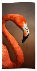 Caribean Flamingo Portrait Beach Sheet by Johan Swanepoel