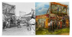 Carnival - Wild Rose And Rattlesnake Joe 1920 - Side By Side Beach Towel by Mike Savad