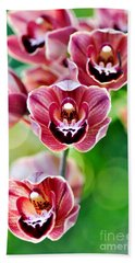 Cascading Miniature Orchids Beach Towel by Kaye Menner