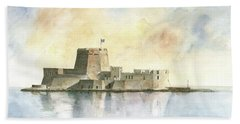 Castle Of Bourtzi In Nafplio Beach Sheet by Juan Bosco