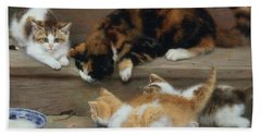 Cat And Kittens Chasing A Mouse   Beach Towel by Rosa Jameson