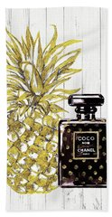Chanel  Noir Perfume With Pineapple Beach Towel by Del Art