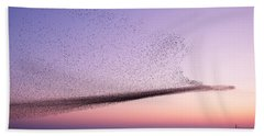 Chaos In Motion - Starling Murmuration Beach Sheet by Roeselien Raimond