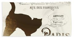 Chat Noir Paris Beach Towel by Mindy Sommers