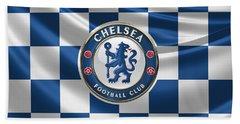 Chelsea F C - 3 D Badge Over Flag Beach Towel by Serge Averbukh