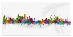 Chicago And St Louis Skyline Mashup Beach Towel by Michael Tompsett