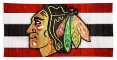 Chicago Blackhawks Barn Door Beach Sheet by Dan Sproul