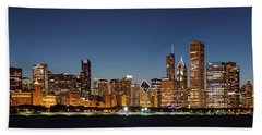 Chicago Downtown Skyline At Night Beach Towel by Semmick Photo