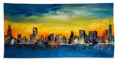 Chicago Skyline Beach Towel by Elise Palmigiani