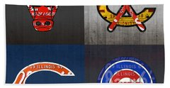 Chicago Sports Fan Recycled Vintage Illinois License Plate Art Bulls Blackhawks Bears And Cubs Beach Towel by Design Turnpike