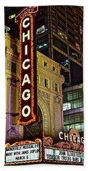 Chicago Theater Aglow Beach Sheet by Frozen in Time Fine Art Photography